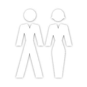 Valkoinen akryyli uros & nainen PUVUT Ihmiset WC ovikyltit