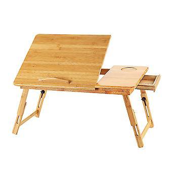 Homemiyn الكمبيوتر اللوحي جدول الكمبيوتر قابل للتعديل الخشب الصلب للطي سرير الجدول مساحة حفظ قوي وسهلة لتجميع