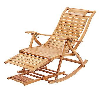 Adjustable Bamboo Rocking Chair Folding Lounger Recliner