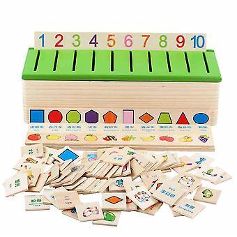 Animal en bois / voiture / fruit / numéro Boîte de jeu assortie, Jouets éducatifs pour bébés, Jouets d'apprentissage des mathématiques pour enfants