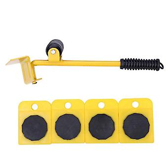5pcs Furniture Transport Lifter Tool Set With Wheel Bar Roller Device Household Heavy Stuffs Moving Tools