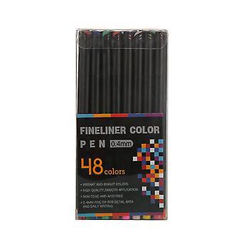 48 Color Hook Line Pluma Pintura Pluma Aguja Tubo Pluma Arte Suministros 0.4mm Trazo Color Juego de Plumas