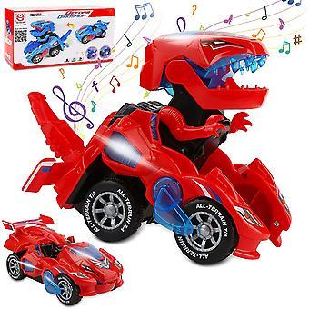 Transforming Dinosaurier Spielzeug, Transforming Dinosaurier Auto, automatische Transform Dino Autos mit Musik und LED-Licht