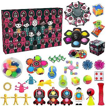 Advent Calendar Fidgets Toy Pack 24days Countdown Squd Game Xmas Gift Box