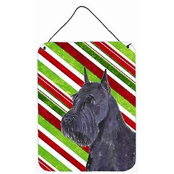 طباعة schnauzer حلوى قصب عطلة عيد الميلاد الجدار أو الباب معلقة