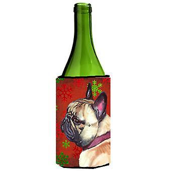 Franse Bulldog Frenchie rode sneeuwvlokken Holiday Kerstmis wijn fles drank In