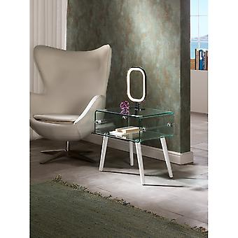 Schuller Glass Iiside Table,White Leg