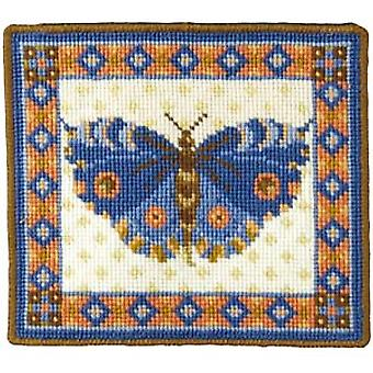 Blue Butterfly Needlepoint Canvas