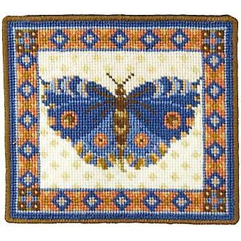 طقم الإبرة الفراشة الزرقاء