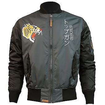 Top Gun Tiger Bomber Jacket Black Charcoal
