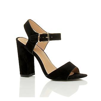 Ajvani Womens hohe Ferse Fesselriemen Schnalle Peep Toe Schuhe Sandalen