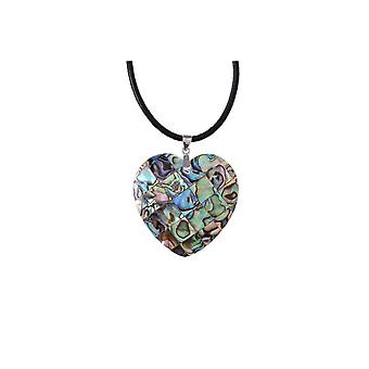 Collar and Pendant Woman Heart in Abalone Heart 880