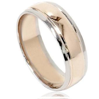 Mens 14K Gold Two Tone Plain gepolijste trouwring Ring