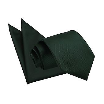 Dunkelgrün solide Check Krawatte & Pocket Square Set