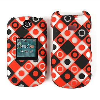 Snap-On Case for Samsung Contour 2/Chrono 2 R270 (Trans. Design, Black/Red/White Dots in Squares)