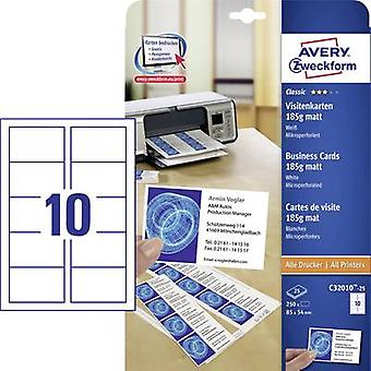 Avery-Zweckform C32010-25 Printable business cards (micro-perforated) 85 x 54 mm White 250 pc(s) Paper size: A4