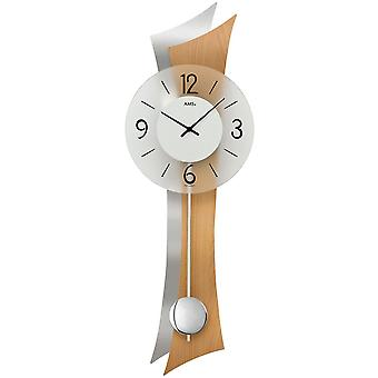 Wall clock clock quartz with pendulum wooden rear wall mineral glass