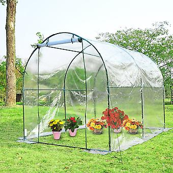 Outsunny 3.5 x 2m Garden Dome Polytunnel Greenhouse Walk In Plastic Plant Grow House PVC
