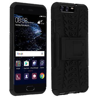 Schokbestendige Stand geval Backcover voor Huawei P10 & Kickstand - zwart