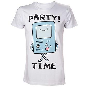Περιπέτεια χρόνος ενήλικος αρσενικό Beemo πάρτυ! T-shirt μεσαίο λευκό (υπόδειγμα αρ. TS280003ADV-M)