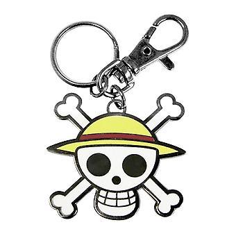 Jeden kus klíček z kovu lebka-Luffy vícebarevná, kovová, s malou karabinou.