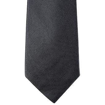 David Van Hagen Diagonal Ribbed Tie - Charcoal