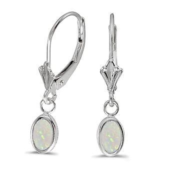 LXR 14k White Gold Oval Opal Frame Frame Folding Bracket Earrings 0.38ct