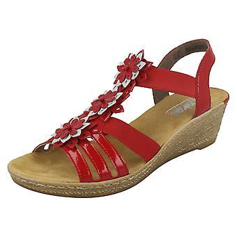 Sandales compensées de Mesdames Rieker fleur détail 62461