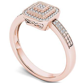 Igi certifierade 10k steg guld 0,15 ct diamant halo vintage stil förlovningsring