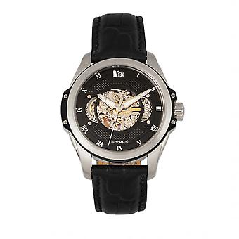 Reign Henley Automatic Semi-Skeleton Leather-Band Watch - Black