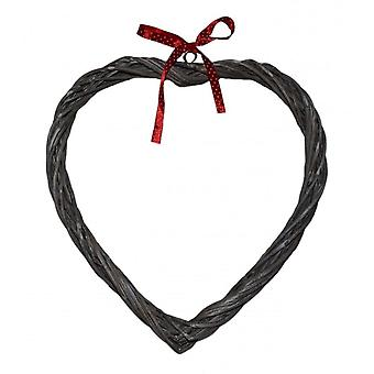 Wicker Slim Heart Wreath With Red Spotty Ribbon