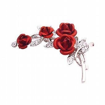 باقة روز أحمر خمر ارتفعت زهرة بروش عرس هدية عيد الميلاد