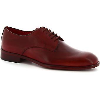 Fatte a mano lacci scarpe derby di Leonardo scarpe uomo in pelle di vitello rosso