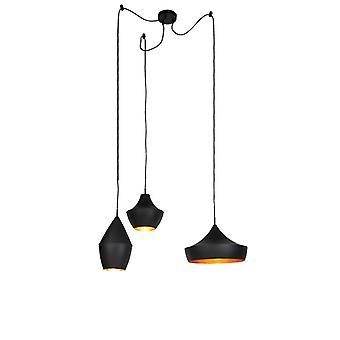 QAZQA moderne Pendelleuchte Lampe 3 schwarz mit goldenen inneren Schattierungen abgehängt runden Deckenplatte - Emily