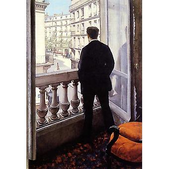 Young man at his window,Gustave Caillebotte,60x40cm