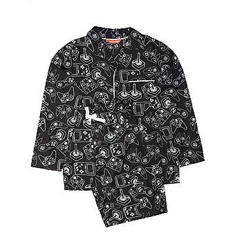 Minijammies 6376 Boy's Isaac Black Mix Remote Control Print Cotton Pyjama Set