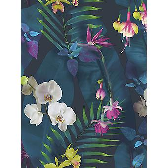 Tropici Pindorama Floral Wallpaper Navy Arthouse 690101