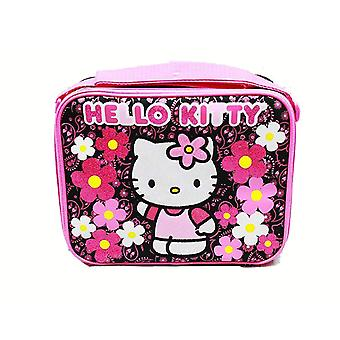 Lunch Bag - Hello Kitty - Flowers Black Sanrio New 82602