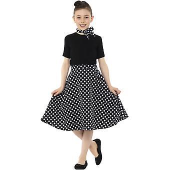 Polkat Dot gepunkteter Rock schwarz 50er Jahre Stil und HalstuchKinder Kostüm Mädchen Karneval Mottoparty