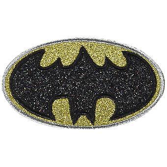 Patch - DC Comics - Batman Logo Glitter Silver Iron-On p-dc-0181-g