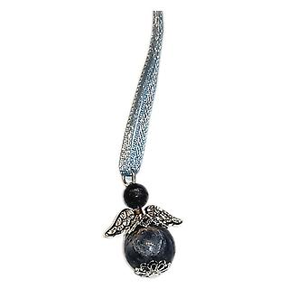 Handmade Hanging Semi-precious Sodalite Gemstone Guardian Angel in Silver Plated by Nyleve Designs