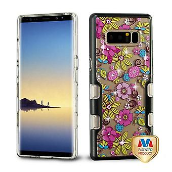MYBAT Metallic Black/Pink Floral Diamante TUFF Panoview Hybrid Protector Cover  for Galaxy Note 8