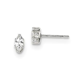 925 Sterling Silver Snap setting Post Earrings 6x3 Marquise Stud Earrings