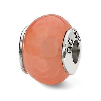 925 Sterling Silber poliert Reflexionen Orange geknackt Achat Stein Perle Anhänger Anhänger Halskette Schmuck Geschenke für Frauen