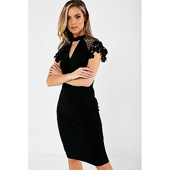 iClothing Gaia Occasion Dress With Lace Sleeve In Black-16