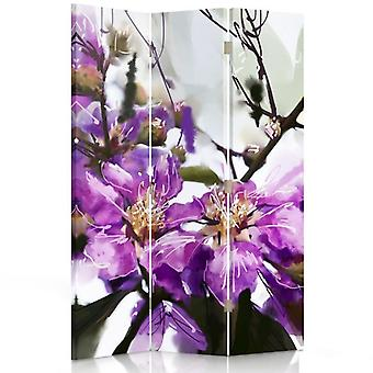 Room Divider, 3 Panels, Double-Sided, Rotatable 360 ??° Canvas, Violet Flower 2