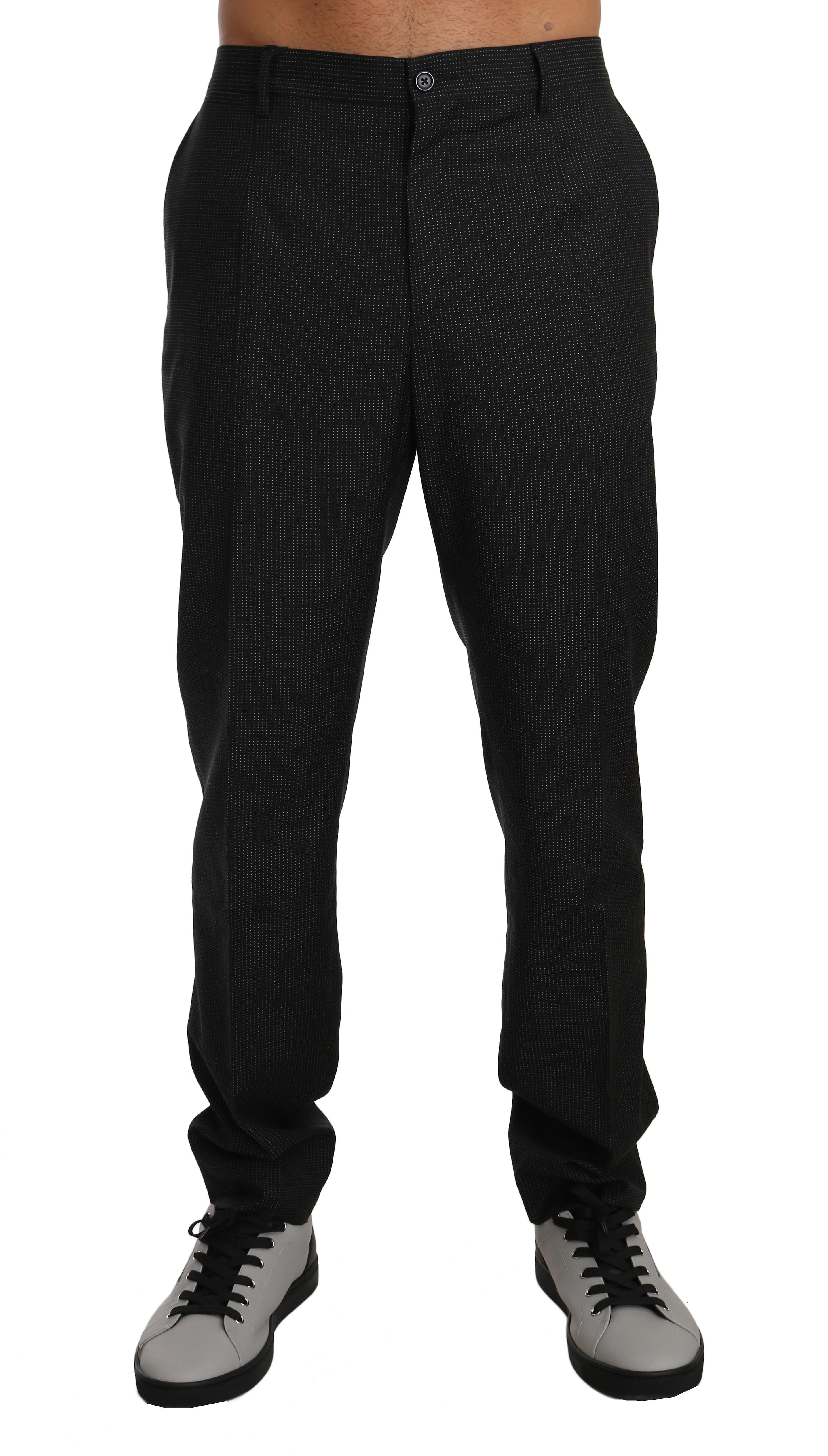 Gray Patterned Wool Formal Trousers Pants