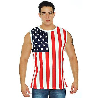 New Men's Proud American United States Flag USA Sleeveless T-Shirt