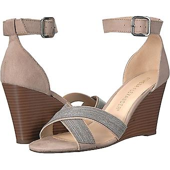 Athena Alexander Women's Zorra Wedge Sandal, Taupe Suede, 9 M US