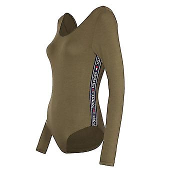 Tommy Hilfiger Women Logo Tape Bodysuit, Olive Night Green, X-Small